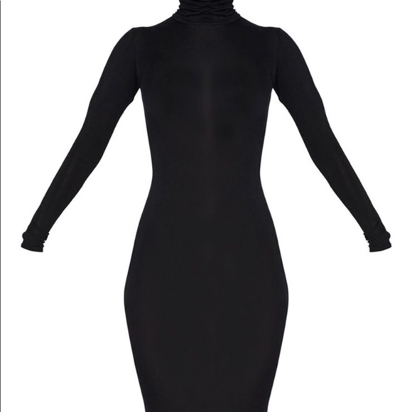 46f31c4d9c Basic Black Roll Neck Midi Dress